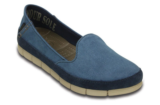 WOMEN'S SHOES CROCS STRETCH SOLE SUEDE NAVY 201741