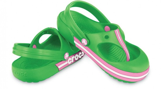 CHILDREN'S SHOES FLIP-FLOPS CROCS BUMPER FLIP 11389 LIME/PINK